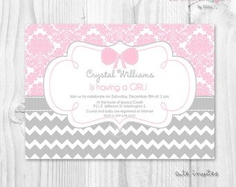 Baby shower printable invitation Digital File Damask and Chevron pink and grey