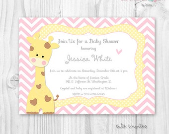 BABY SHOWER GIRL or boy baby giraffe chevron printable invitation