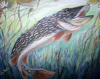 "Northern pike fish print 8""x10"" underwater"