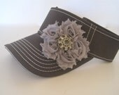 Adorable Grey White Stitched Golf Sun Visor with Grey Chiffon Flower and Smokey Grey Accent Golf Hat Sun visors Accessories