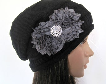 Black Knit Slouch Beanie Winter Hat With Gray Chiffon Flowers and a Beautiful Rhinestone Accent