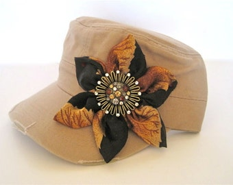 SALE....Khaki Cadet Military Distressed Army Hat with a Brown and Black Print Petal Flower and Matching Brooch Accent