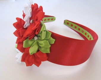 Red Satin Christmas Holiday Headband with Red White and LIme Green Satin Flowers and Rhinestone Accents
