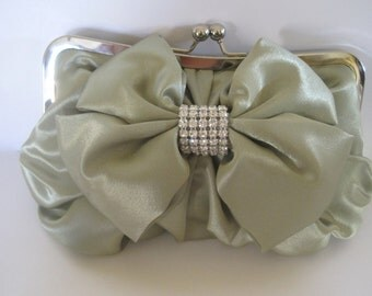 Green Mint Sage Satin Bow Evening Clutch Shoulder Bag with Gorgeous Satin Bow and rhinestone Accents Bridesmaids Mother of the Bride Prom