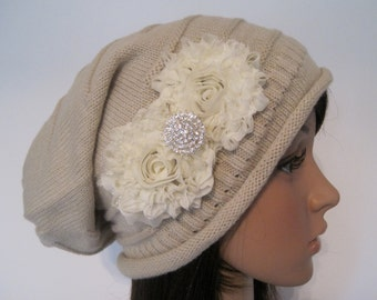 Tan Knit Slouch Beanie Winter Hat with Ivory  Chiffon Flowers and a Rhinestone Accent
