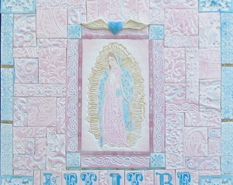 Let It Be, Mother Mary Polymer Clay Tile Mixed Media Mosaic