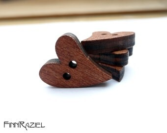 6 brown heart buttons 21x17mm wooden hearts