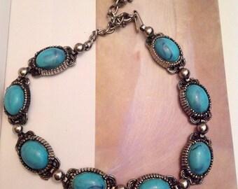Vintage Silver Tone Faux Turquoise Designer Necklace