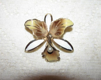 Vintage Brown White Pearl Center Orchid Enamel Flower Brooch Pin