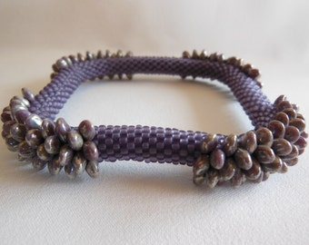 Bead Crochet Bangle:  Purple Dragon