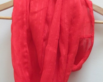 red silk blend circle scarf, infinity scarf, loop scarf