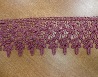 Gorgeous Wide Rayon Venice Lace Trim in Burgundy/Grey (1 yd)