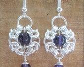 Amethyst Chainmaille Earrings Genuine Gemstone