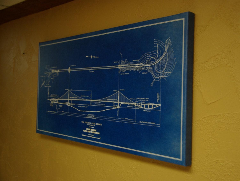 golden gate bridge plan wall art on canvas print by. Black Bedroom Furniture Sets. Home Design Ideas