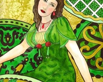 GREEN GIRL A print from an original watercolor by Karen Isaacson
