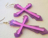 Cross Laser Cut Acrylic Neon Transparent Earrings in Blue Purple and Green