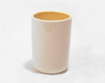 Ceramic cup handmade- yellow & white  Set of 2