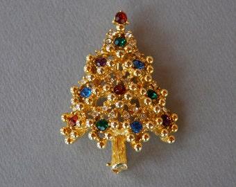 Vintage Eisenberg Tree Brooch Christmas Tree Brooch Colored Rhinestones Gold Tone Holiday Jewelry 1970's // Vintage Designer Costume Jewelry