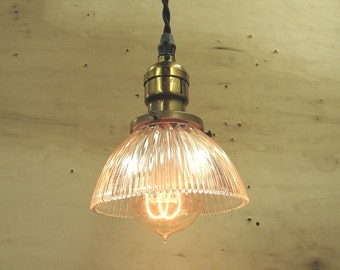0340 Industrial Holophane Shade on Custom Braided Cloth Cord Pendant w/ Antique Socket 7 Available