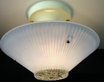 """1453 Mid Century Flush Three Chain 8"""" Blue Ceiling Globe Light Rewired Two Available"""