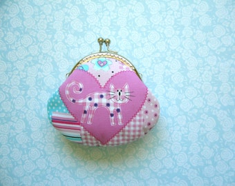 SHOP CLOSING SALE Pink and Blue Kitty Small Coin Purse - Handmade Gift