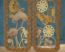 Burwood Mushroom Butterfly Flower Wall Hangings Vintage Plaques