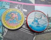 2 soviet pin badge on the sport theme - soviet Ice hockey -  Ice Hockey World Championships Moscow 1973.