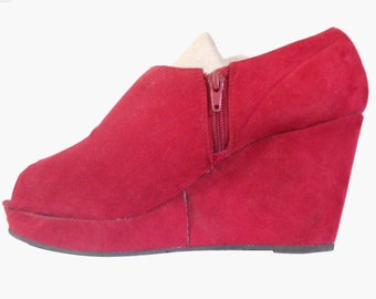 Red Wedge Shoe Platform Wedge Shoe Red Platform Heels 90s Platform Shoe Chunky Wedge Open Toe Shoe Peep Toe Wedge Women Vegan Shoe Rave