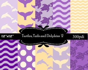 50% off Sale, Turtles, Tails and Dolphins 1 Purple and Yellow, Digital papers, scrapbooking papers with dots, chevron, waves
