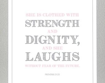 Christening gift - Proverbs 31:25  - 5x7 Print