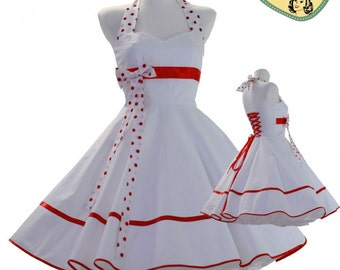 50's vintage wedding dress white red Tailor Made after your measurements #0015