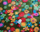 flower power and butterflies vintage cotton blend fabric -- 45 wide by 2 1/2 yards