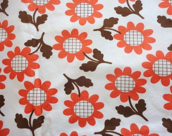 orange and brown flower power print vintage cotton fabric -- 44 wide by 3 2/3 yard