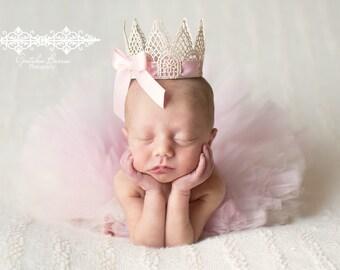 Baby Pink and Cream Tutu and Matching Crown SET - NEWBORN size - Perfect Photo Prop or Keepsake Photo Prop