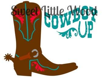 """Cowboy Boot """"Cowboy Up"""" svg- 3 x digital SVG file in black line white fill, no fill and color format. PNG image included."""