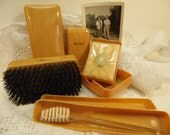Antique Men's Grooming Kit Men's Vanity Set Travel Kit Men's Hair Brush Razor Box Lucien Lelong Soap Made In USA