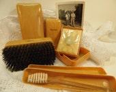 Antique Men's Grooming Kit Men's Vanity Set Travel Kit Men's Hair Brush Razor Box Lucien Lelong Soap Made In USA
