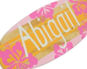 Surfer Girl Wall Decor, Custom Surfboard Sign, Pre Teen Girls Room Decor, Tween Girls Decor, Personalized Teens, Decorative Surf Board