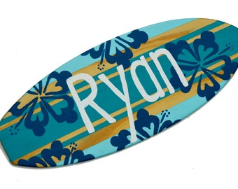 Personalized Surfboard Decor, 18 inch Surf Board Wall Art, Turquoise Blue Surfboard Sign, Custom Beach Decor, Surfboard with Name Sign, Ryan