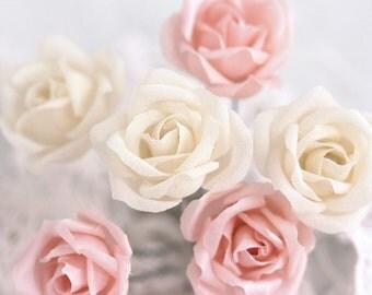 71_Ivory hair flower, Hair flowers, Rose hair, Hair clips roses, Pink roses, For hair, Hair accessories, Fabric flower hair, Hair pin, Blush