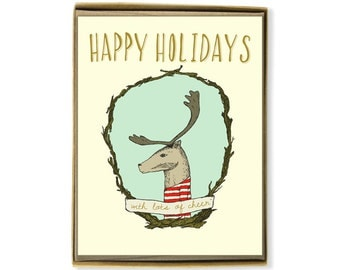Holiday Card Set - Happy Holidays and Lots of Cheer Reindeer - Illustrated Christmas Greeting Card Set - blue, teal, red