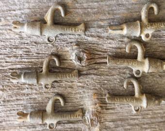 Set of Six Antique Maple Taps Soule Warner Sugaring Vermont Hooks