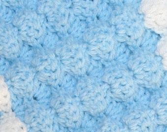 Easy Baby Crochet Blanket Pattern Tutorial 3D Puffy Shell Textured Reversible Fiber Arts Craft Crochet Tutorial Pattern 3 sizes