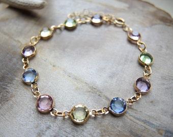 Swarovski Bracelet, Multi Color Swarovski Crystal Jewelry, 14K Gold Filled Bezel Bracelet, Swarovski Jewelry Gifts For Her, Gold Bracelet