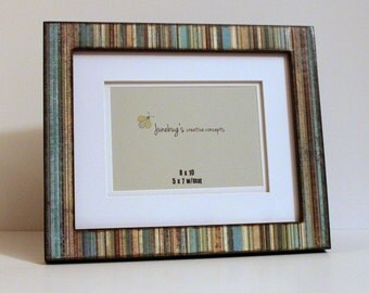 8x10 5x7 or 8x8 5x5 Matted Photo Frame Blue Brown Stripes