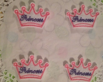 White felt mini princess crown -set of 4