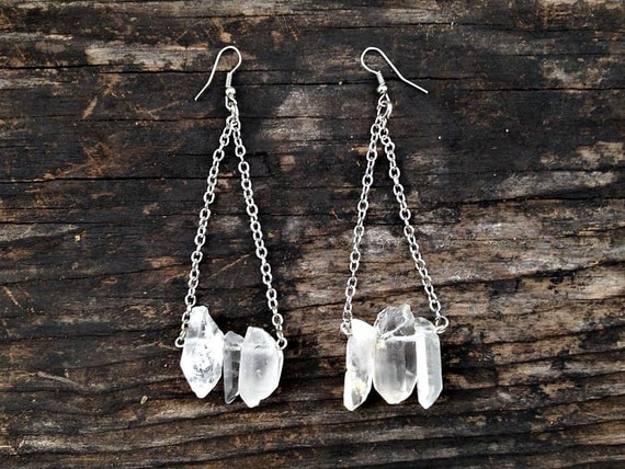 handcrafted clear quartz crystal point, silver chain, chandelier earrings