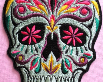 Large Embroidered Sugar Skull Applique Patch, Day of the Dead, Dia de los Muertos, Skull Patch, Mexican, Mexico, Gothic, Biker Patch