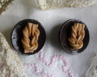 Vintage Buttons - 2 Brown Celluloid Shank Buttons with Tan Extruded Knots in the Center