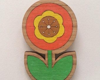 Wood laser cut brooch vintage retro flower brown yellow orange